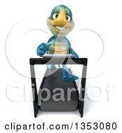 3d Blue Tortoise Running On A Treadmill On A White Background