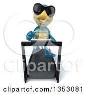 3d Blue Tortoise Wearing Sunglasses And Running On A Treadmill On A White Background