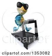 Clipart Of A 3d Blue Tortoise Wearing Sunglasses And Running On A Treadmill On A White Background Royalty Free Vector Illustration