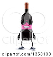 Clipart Of A 3d Pink Labeled Wine Bottle Character Wearing Sunglasses On A White Background Royalty Free Vector Illustration by Julos