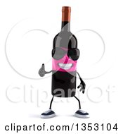 Clipart Of A 3d Pink Labeled Wine Bottle Character Wearing Sunglasses And Giving A Thumb Up On A White Background Royalty Free Vector Illustration by Julos