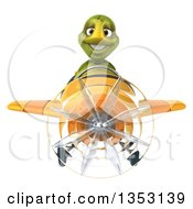 Clipart Of A 3d Tortoise Aviatior Pilot Flying A Yellow Airplane On A White Background Royalty Free Vector Illustration by Julos