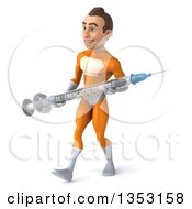 Clipart Of A 3d Young Brunette White Male Super Hero In An Orange Suit Holding A Giant Vaccine Syringe And Walking On A White Background Royalty Free Illustration