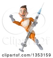 Clipart Of A 3d Young Brunette White Male Super Hero In An Orange Suit Holding A Giant Vaccine Syringe And Flying On A White Background Royalty Free Illustration