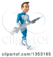 Clipart Of A 3d Young White Male Super Hero In A Light Blue Suit Holding A Giant Vaccine Syringe And Walking On A White Background Royalty Free Illustration