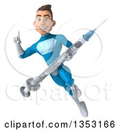 Clipart Of A 3d Young White Male Super Hero In A Light Blue Suit Holding Up A Finger A Giant Vaccine Syringe And Flying On A White Background Royalty Free Illustration