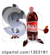 Clipart Of A 3d Soda Bottle Character Holding Up A Thumb And A Dollar Currency Symbol On A White Background Royalty Free Vector Illustration