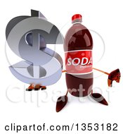 Clipart Of A 3d Soda Bottle Character Holding Up A Thumb Down And A Dollar Currency Symbol On A White Background Royalty Free Vector Illustration