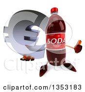 Clipart Of A 3d Soda Bottle Character Holding Up A Thumb And A Euro Currency Sumbol On A White Background Royalty Free Vector Illustration