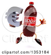 Clipart Of A 3d Soda Bottle Character Holding A Euro Currency Sumbol And Jumping On A White Background Royalty Free Vector Illustration