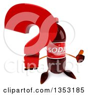 Clipart Of A 3d Soda Bottle Character Holding Up A Thumb And A Question Mark On A White Background Royalty Free Vector Illustration
