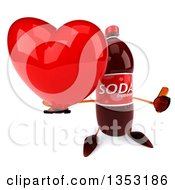 Clipart Of A 3d Soda Bottle Character Holding Up A Thumb And A Heart On A White Background Royalty Free Vector Illustration