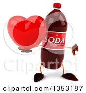 Clipart Of A 3d Soda Bottle Character Holding A Heart And Giving A Thumb Down On A White Background Royalty Free Vector Illustration