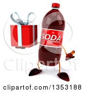 Clipart Of A 3d Soda Bottle Character Holding A Gift And Shrugging On A White Background Royalty Free Vector Illustration