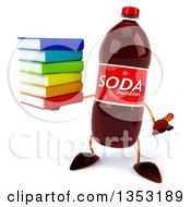 Clipart Of A 3d Soda Bottle Character Holding A Stack Of Books And Shrugging On A White Background Royalty Free Vector Illustration