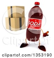Clipart Of A 3d Soda Bottle Character Holding Boxes And Shrugging On A White Background Royalty Free Vector Illustration