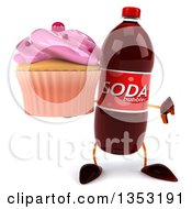 Clipart Of A 3d Soda Bottle Character Holding A Pink Frosted Cupcake And Giving A Thumb Down On A White Background Royalty Free Vector Illustration
