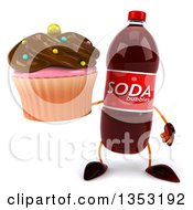 Clipart Of A 3d Soda Bottle Character Holding A Chocolate Frosted Cupcake On A White Background Royalty Free Vector Illustration