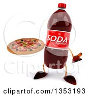 Clipart Of A 3d Soda Bottle Character Holding A Pizza And Shrugging On A White Background Royalty Free Vector Illustration