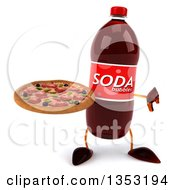Clipart Of A 3d Soda Bottle Character Holding A Pizza And Giving A Thumb Down On A White Background Royalty Free Vector Illustration