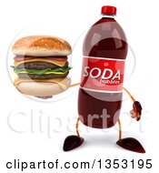 Clipart Of A 3d Soda Bottle Character Holding A Double Cheeseburger On A White Background Royalty Free Vector Illustration by Julos