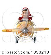Clipart Of A 3d Young White Male Super Hero Santa Aviator Pilot Flying A Yellow Airplane On A White Background Royalty Free Illustration