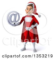 Clipart Of A 3d Young White Male Super Hero Santa Holding An Email Arobase At Symbol On A White Background Royalty Free Illustration