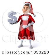Clipart Of A 3d Young White Male Super Hero Santa Holding A Dollar Currency Symbol On A White Background Royalty Free Illustration by Julos