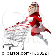 Clipart Of A 3d Young White Male Super Hero Santa Flying With A Shopping Cart On A White Background Royalty Free Illustration