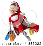 Clipart Of A 3d Young White Male Super Hero Santa Holding Shopping Bags And Flying On A White Background Royalty Free Illustration