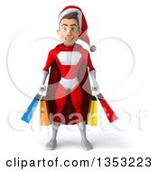 Clipart Of A 3d Young White Male Super Hero Santa Holding Shopping Bags On A White Background Royalty Free Illustration