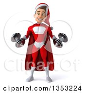 Clipart Of A 3d Young White Male Super Hero Santa Working Out Doing Bicep Curls With Dumbbells On A White Background Royalty Free Illustration