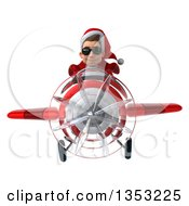 Clipart Of A 3d Young White Male Super Hero Santa Aviator Pilot Wearing Sunglasses And Flying A Red Airplane On A White Background Royalty Free Illustration