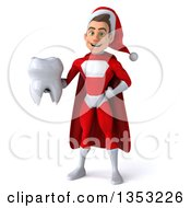 Clipart Of A 3d Young White Male Super Hero Santa Holding A Tooth On A White Background Royalty Free Illustration