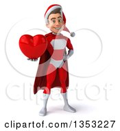 Clipart Of A 3d Young White Male Super Hero Santa Holding A Love Heart On A White Background Royalty Free Illustration