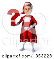Clipart Of A 3d Young White Male Super Hero Santa Holding A Question Mark On A White Background Royalty Free Illustration