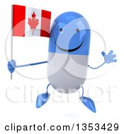 Clipart Of A 3d Happy Blue And White Pill Character Holding A Canadian Flag And Jumping On A White Background Royalty Free Vector Illustration
