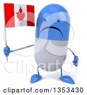 Clipart Of A 3d Unhappy Blue And White Pill Character Holding A Canadian Flag On A White Background Royalty Free Vector Illustration