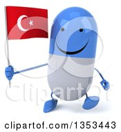 Clipart Of A 3d Happy Blue And White Pill Character Holding A Turkish Flag And Walking On A White Background Royalty Free Vector Illustration