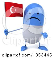 Clipart Of A 3d Unhappy Blue And White Pill Character Holding And Pointing To A Turkish Flag On A White Background Royalty Free Vector Illustration