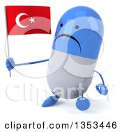 Clipart Of A 3d Unhappy Blue And White Pill Character Holding A Turkish Flag And Walking On A White Background Royalty Free Vector Illustration