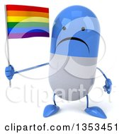 Clipart Of A 3d Unhappy Blue And White Pill Character Holding A Rainbow Flag On A White Background Royalty Free Vector Illustration