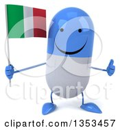 Clipart Of A 3d Happy Blue And White Pill Character Holding An Italian Flag And Giving A Thumb Up On A White Background Royalty Free Vector Illustration