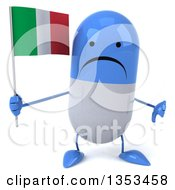 Clipart Of A 3d Unhappy Blue And White Pill Character Holding An Italian Flag And Giving A Thumb Down On A White Background Royalty Free Vector Illustration