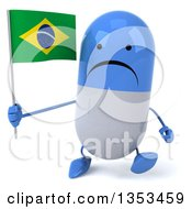Clipart Of A 3d Unhappy Blue And White Pill Character Holding A Brazilian Flag And Walking On A White Background Royalty Free Vector Illustration