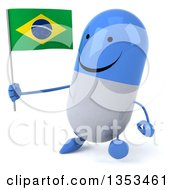 Clipart Of A 3d Happy Blue And White Pill Character Holding A Brazilian Flag And Walking On A White Background Royalty Free Vector Illustration