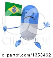 Clipart Of A 3d Unhappy Blue And White Pill Character Holding A Brazilian Flag And Jumping On A White Background Royalty Free Vector Illustration