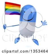 Clipart Of A 3d Happy Blue And White Pill Character Holding A Rainbow Flag And Jumping On A White Background Royalty Free Vector Illustration