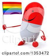 Clipart Of A 3d Happy Red And White Pill Character Holding A Rainbow Flag And Walking On A White Background Royalty Free Vector Illustration