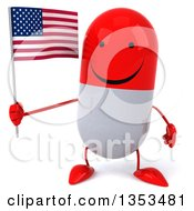 Clipart Of A 3d Happy Red And White Pill Character Holding An American Flag On A White Background Royalty Free Vector Illustration